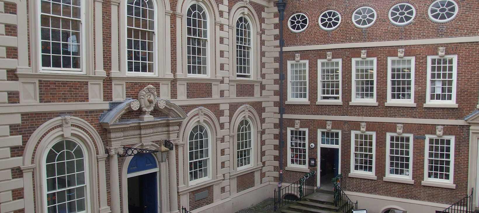 View of Bluecoat's entrance and front courtyard, taken from a top floor window.