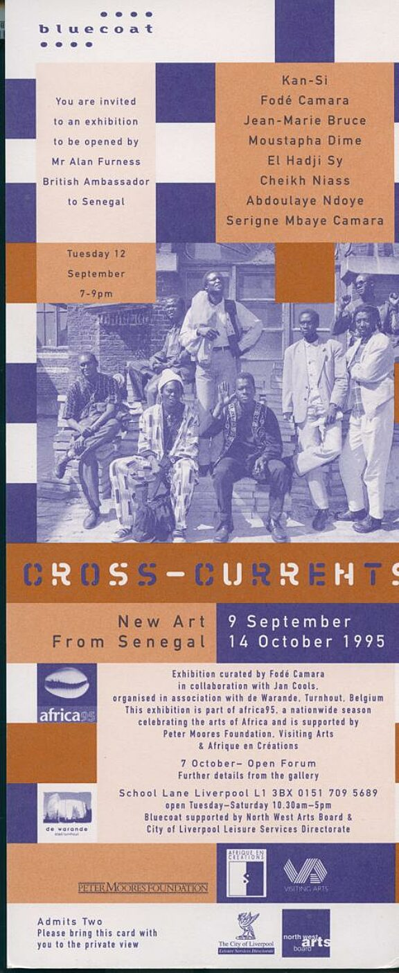 Invitation card for opening of Cross Currents: New Art from Senegal