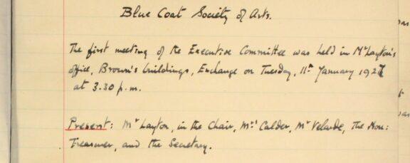 Bluecoat Society of Arts minutes book, 1927 - 1929