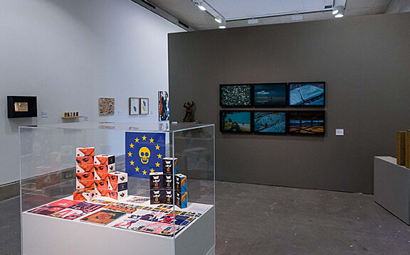Public View exhibition, with The Trophy Cabinet (1992) by South Atlantic Souvenirs and Trouble