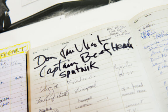 Captain Beefheart exhibition visitors' book