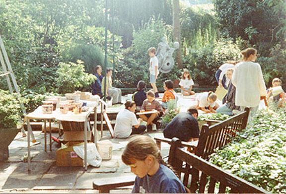 Children's art workshop in the garden