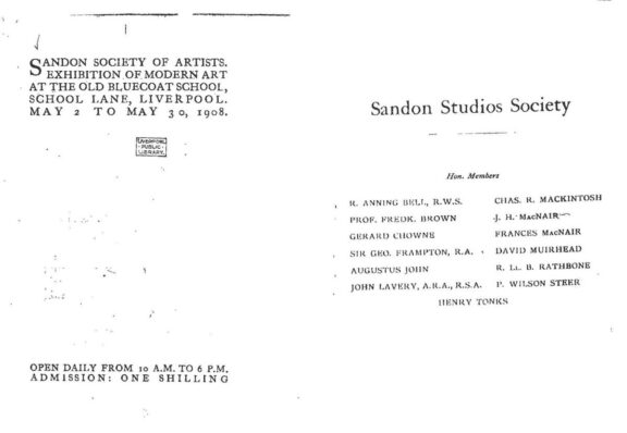 Catalogue for Sandon Society of Artists Exhibition of Modern Art