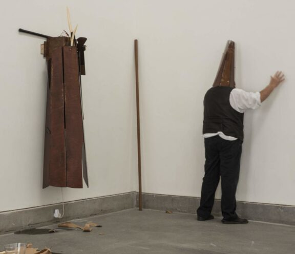 Brian Catling performance in the exhibition, The Art of the Lived Experiment