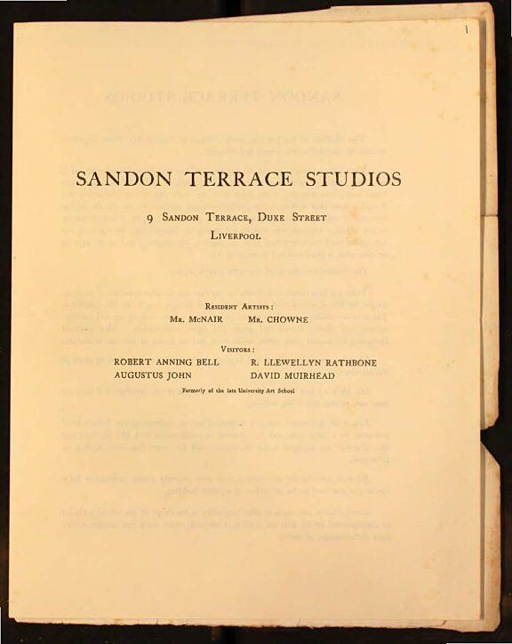 Notice of establishment of the Sandon Terrace Studios