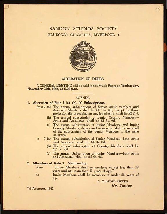 Sandon Studios Society meeting notice