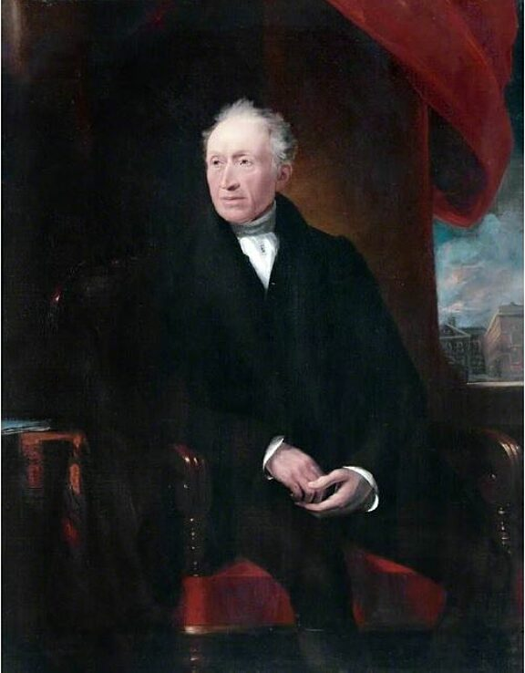 James Lonsdale (1777–1839), portrait of George Brown, with Liverpool Blue Coat School in the background.