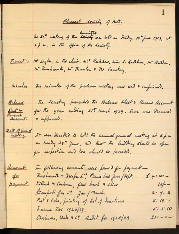 Bluecoat Society of Arts minutes book, 1929 - 1934