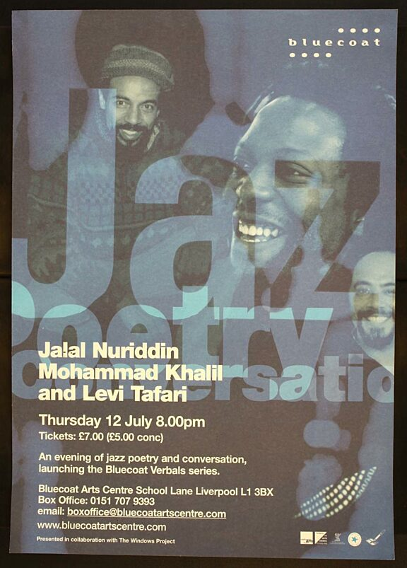 Poster for jazz poetry conversation event