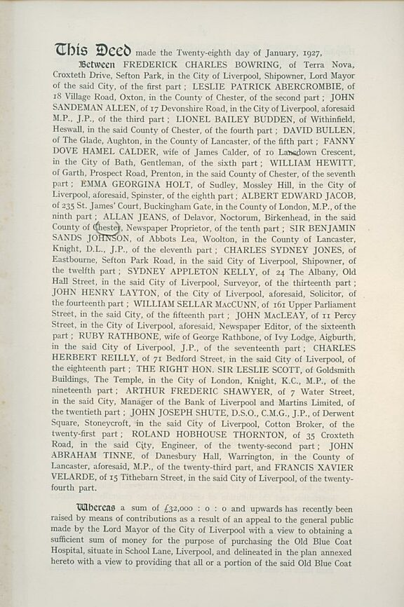 Deed of Constitution of the Bluecoat Society of Arts