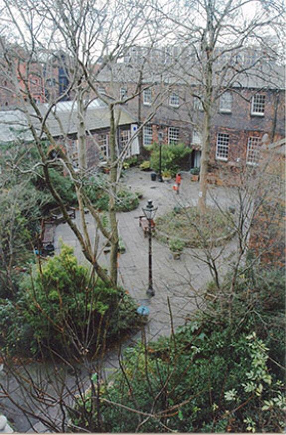 Aerial view of Bluecoat garden