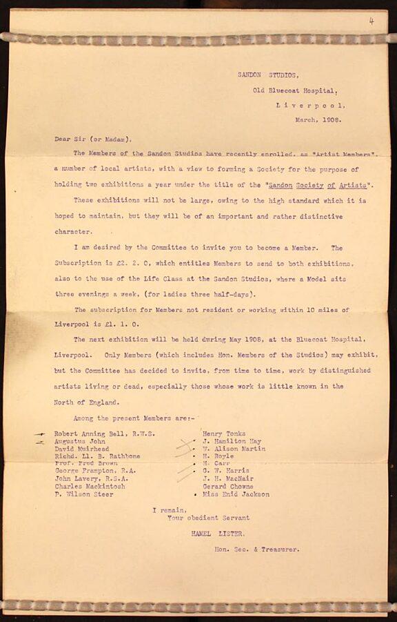 Letter to artists from Fanny Hamel Lister regarding joining the Sandon