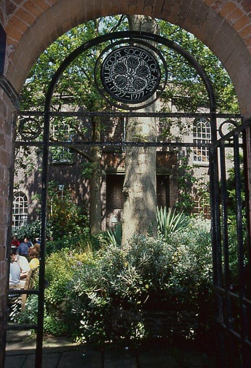 Bluecoat Society of Arts anniversary plaque at the garden entrance