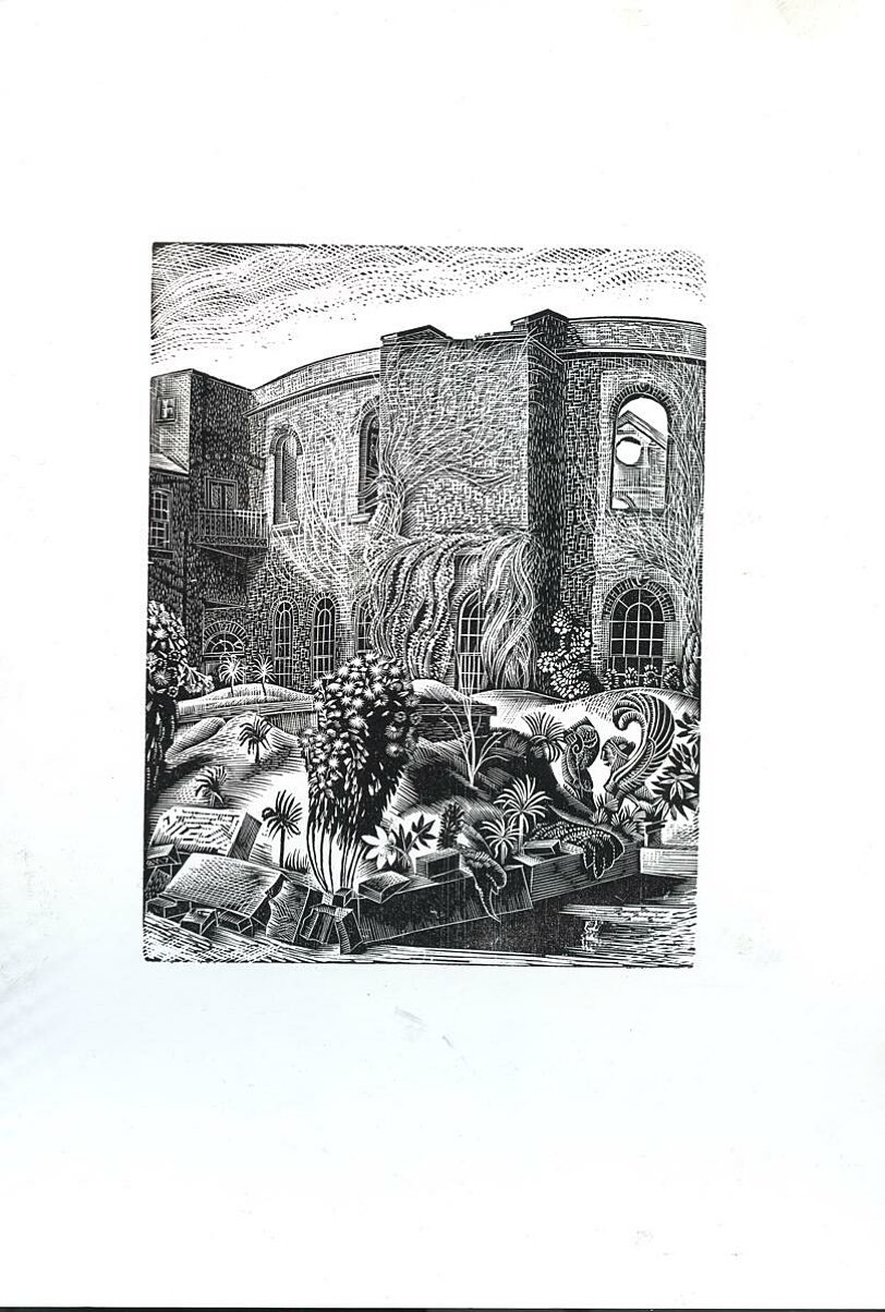 Wood engraving showing the bomb-damaged Bluecoat and garden