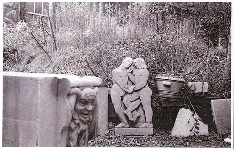 Bluecoat garden, with stone sculptures